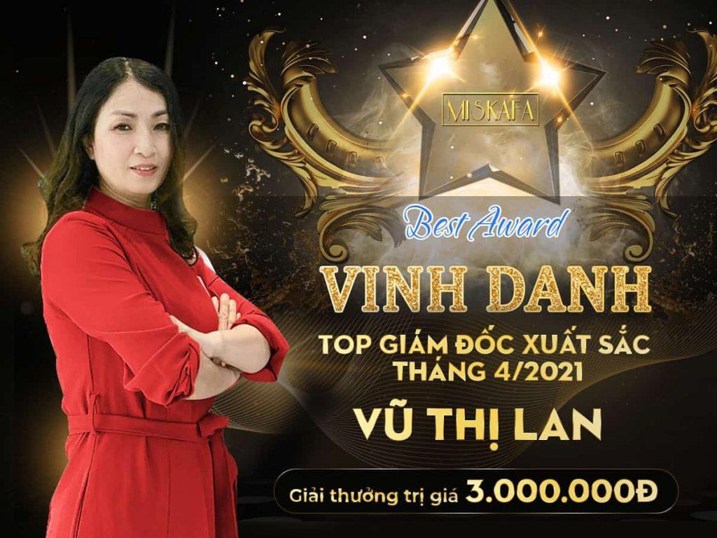 chúc mừng giám đốc kinh doanh Ms Vũ Thị Lan với giải thưởng 3 triệu vnđ